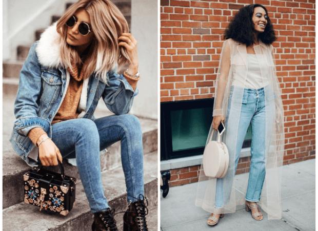 модные тенденции весна 2021 джинсовый костюм джинсы и прозрачным плащем
