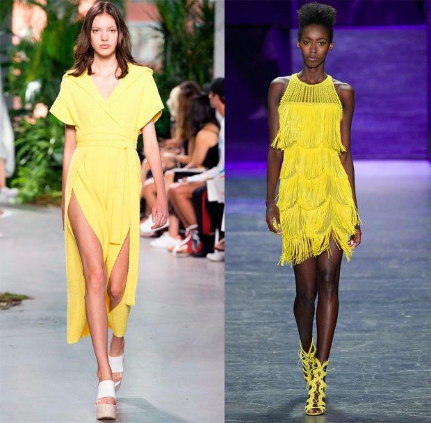 желтый лук платье с разрезом платье с воланами бахрома