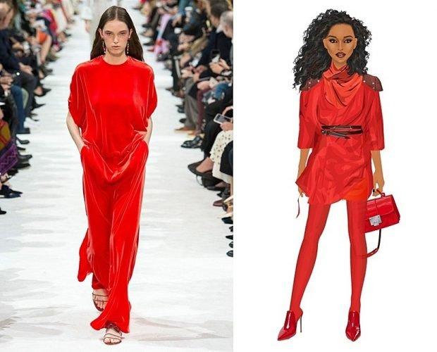 красный костюм брючный цвет чили