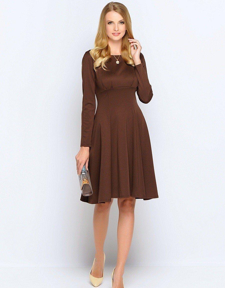 шоколадное платье а-силуэт