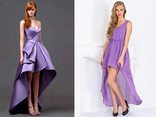 фиолетовые платья асимметрия