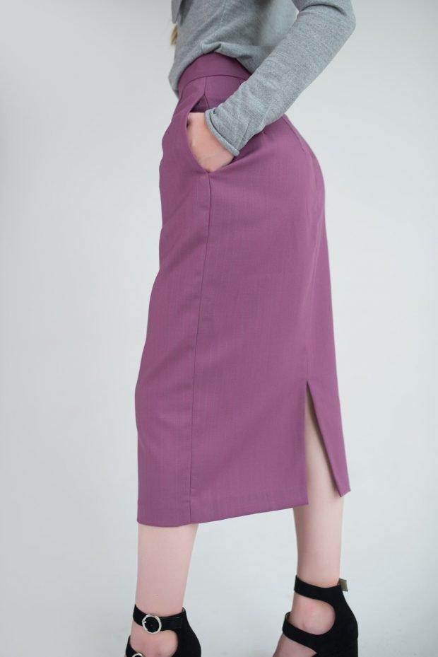 лиловая юбка карандаш