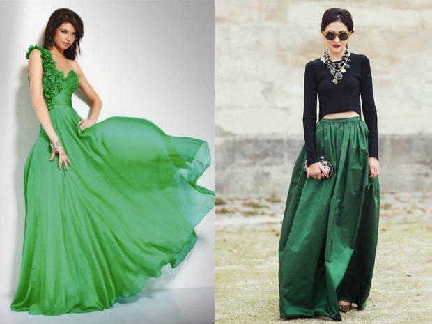 зеленое платье легкое юбка зеленая макси