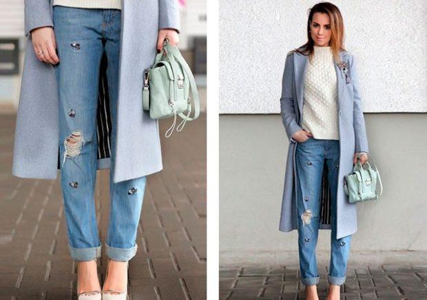 джинсы скинни по пальто серое
