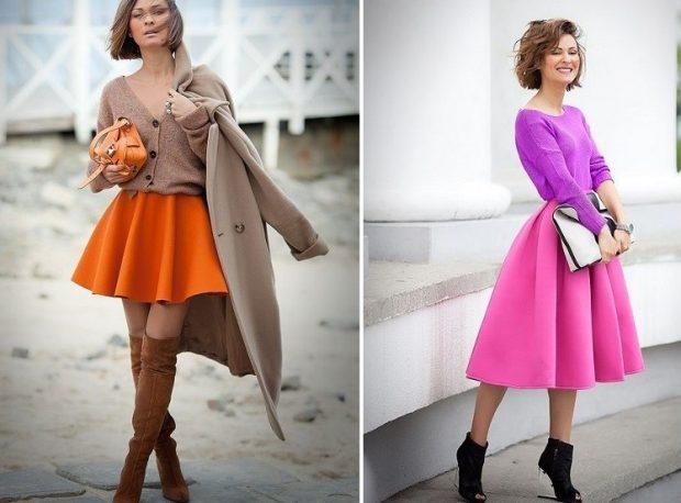 оранжевая под джемпер юбка-солнце малиновая кофту фиолетовую