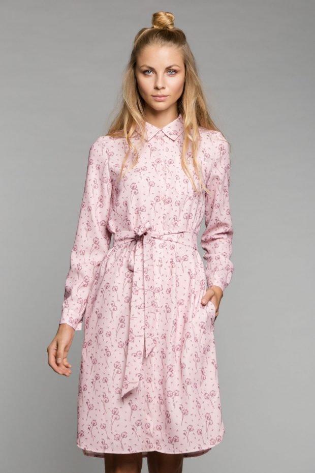 платье-рубашка нежно-розовое с поясом