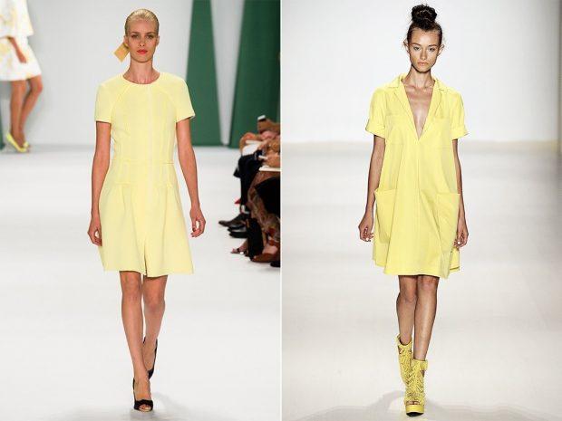 модные тенденции лето 2021 желтые платья с коротким рукавом