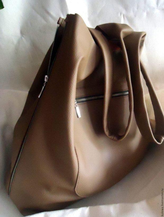 сумка-мешок коричневая