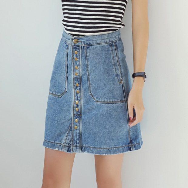 модные юбки весна-лето 2019: джинсовая трапеция с пуговками