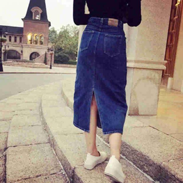 модные юбки весна-лето 2019: джинсовая синяя миди