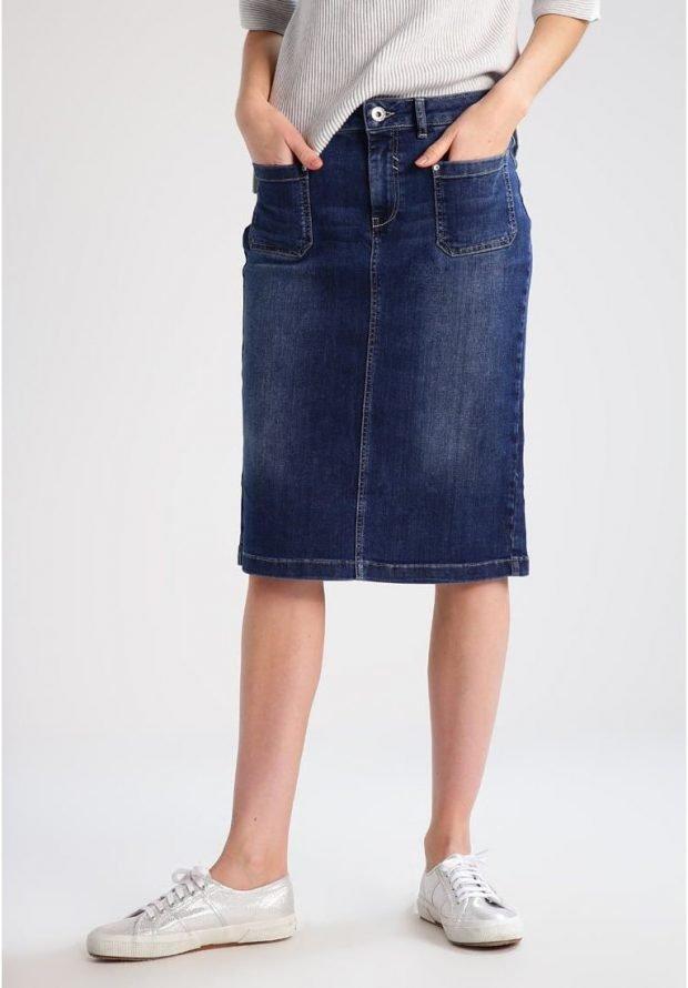 модные юбки весна-лето 2019: джинсовая синяя по колено