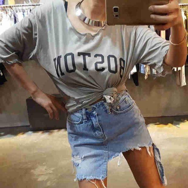 модные юбки весна-лето 2019: джинсовая короткая рваная