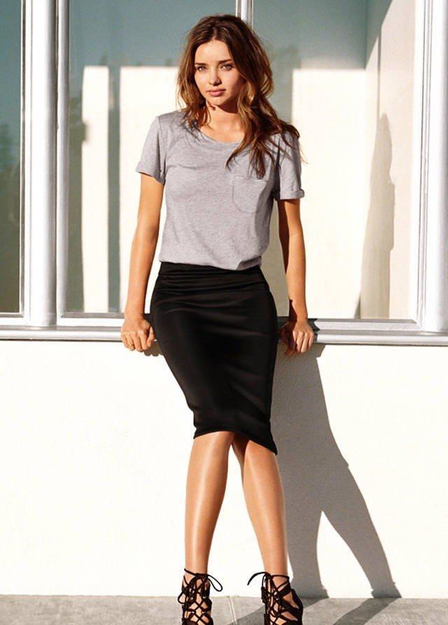 модные юбки весна-лето 2019: карандаш черная