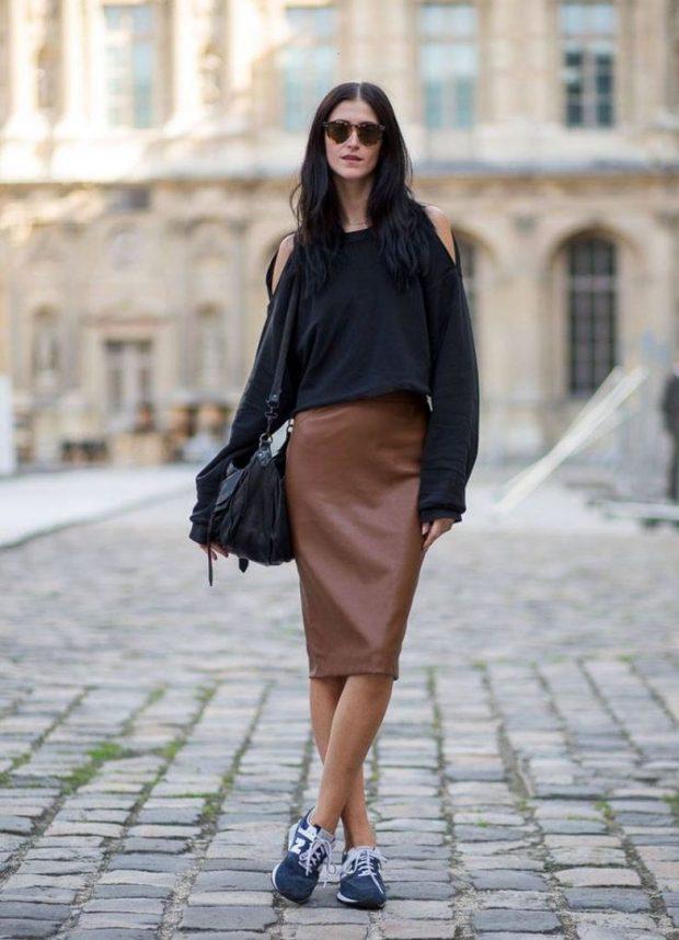 кожаная юбка карандаш коричневая по колено