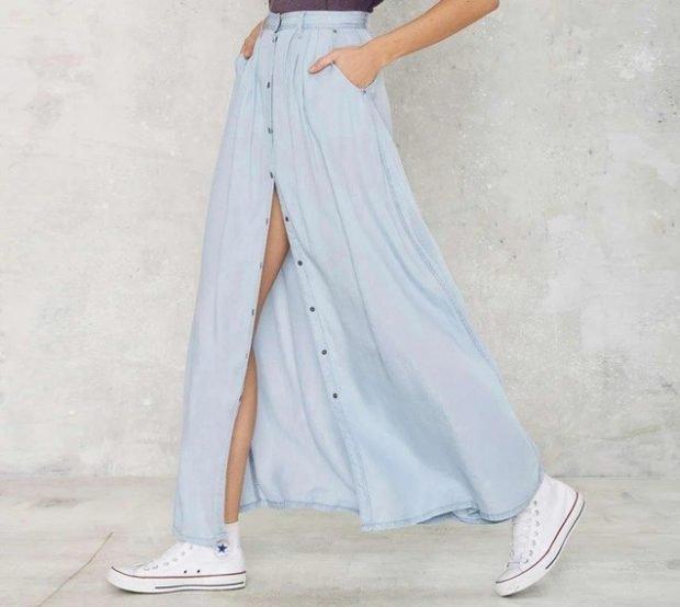 юбка макси тканевая голубая на пуговках