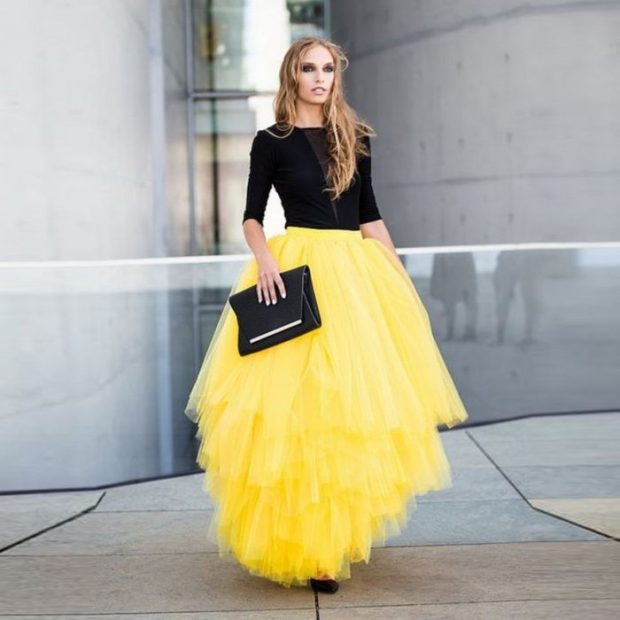юбка макси желтая пышная из фатина