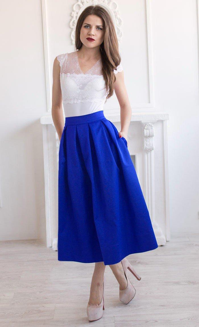 юбка миди синяя с карманами