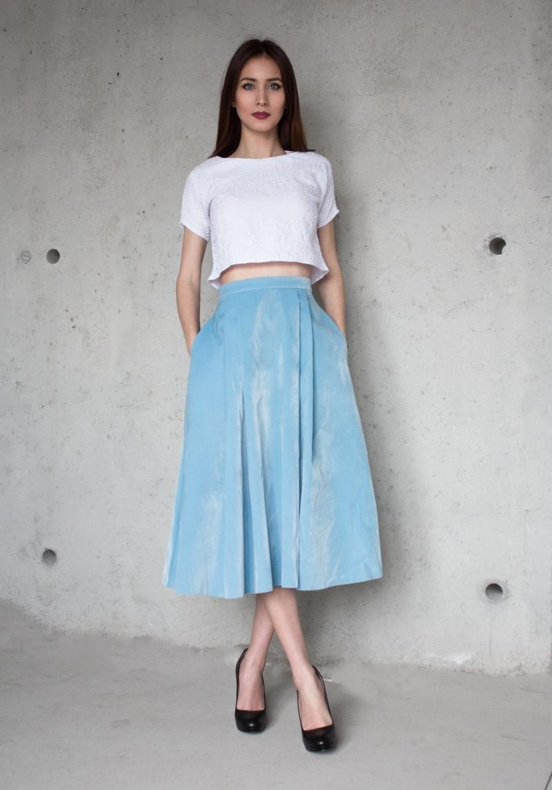 юбка миди голубая с карманами