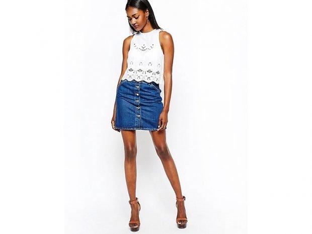 Юбка-мини джинсовая на пуговках