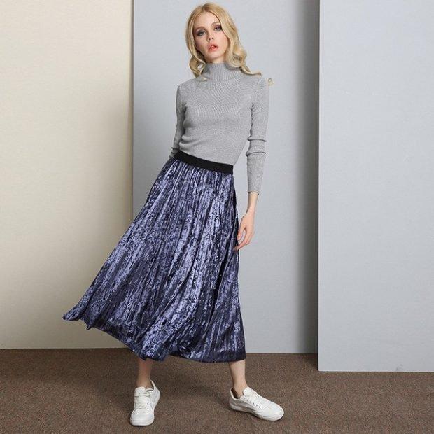 плиссированная юбка блестящая серая