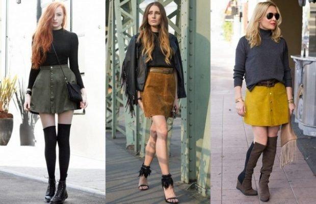 модные юбки весна-лето 2019: короткие кожаные зеленая коричневая желтая