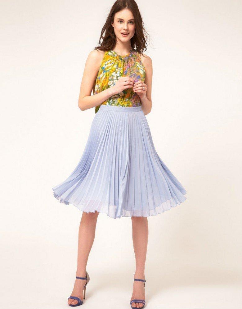 плиссированная юбка светло-серая