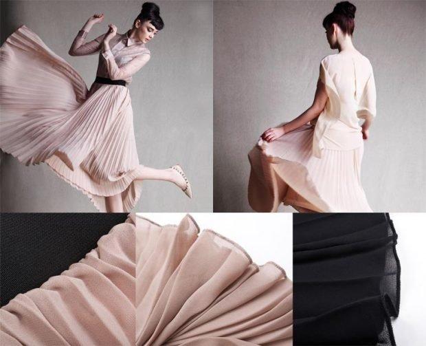 плиссированная юбка бежевая шифоновая
