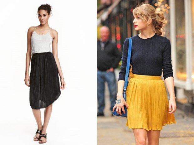 плиссированная юбка черная по колено желтая короткая