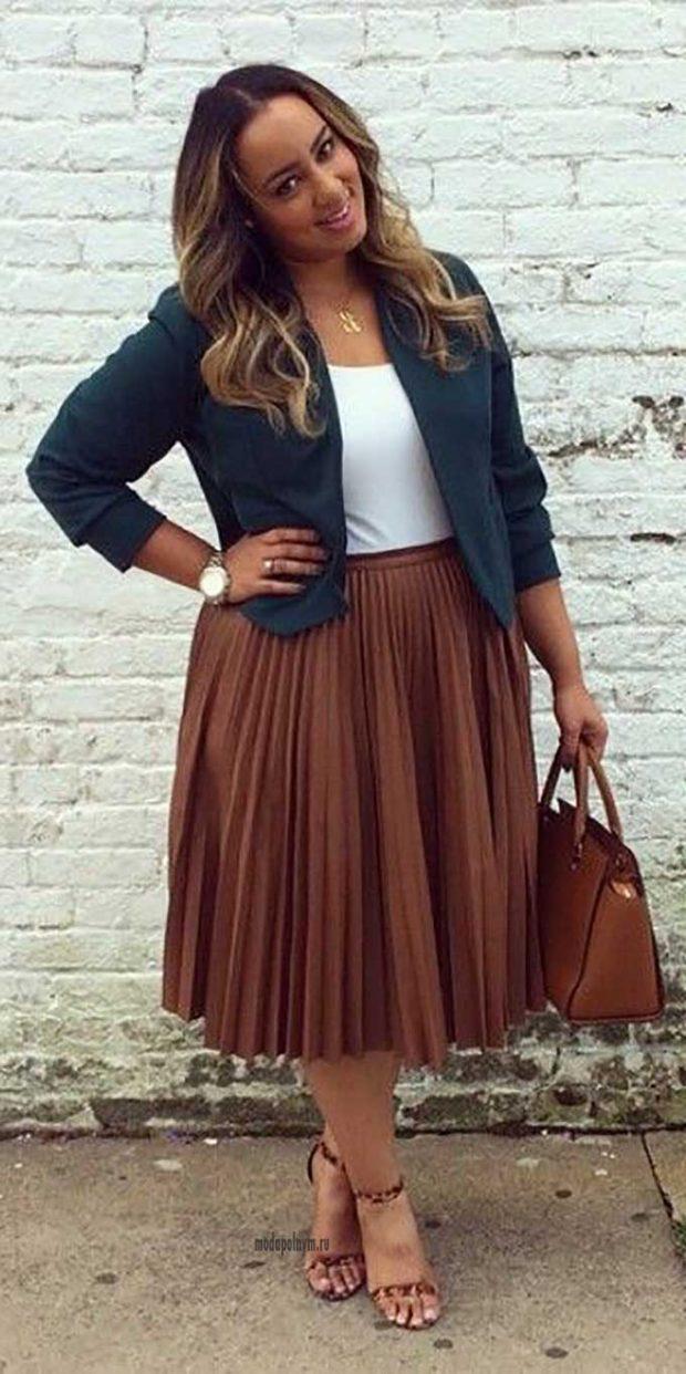 плиссированная юбка коричневая по колено