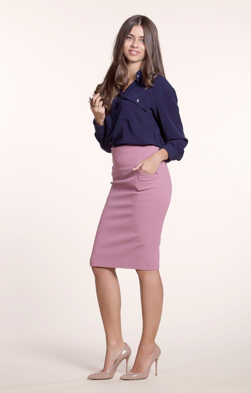 юбка прямая розовая высокая талия