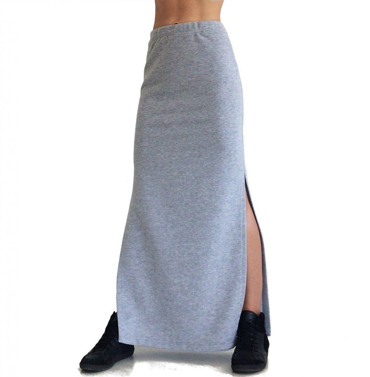 юбка прямая макси серая с разрезами