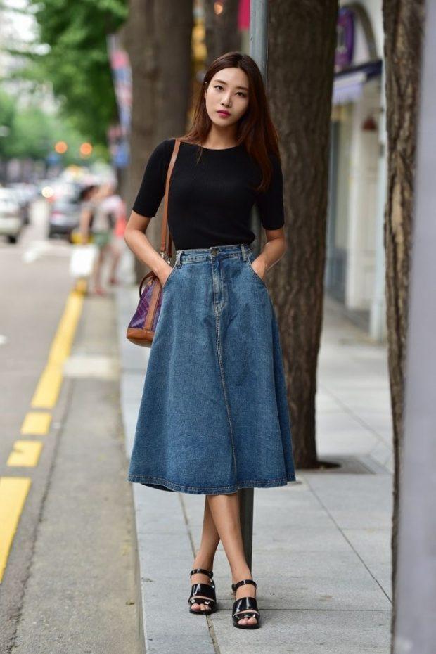 модные юбки весна-лето 2019: джинсовая юбка а-силуэт с карманами