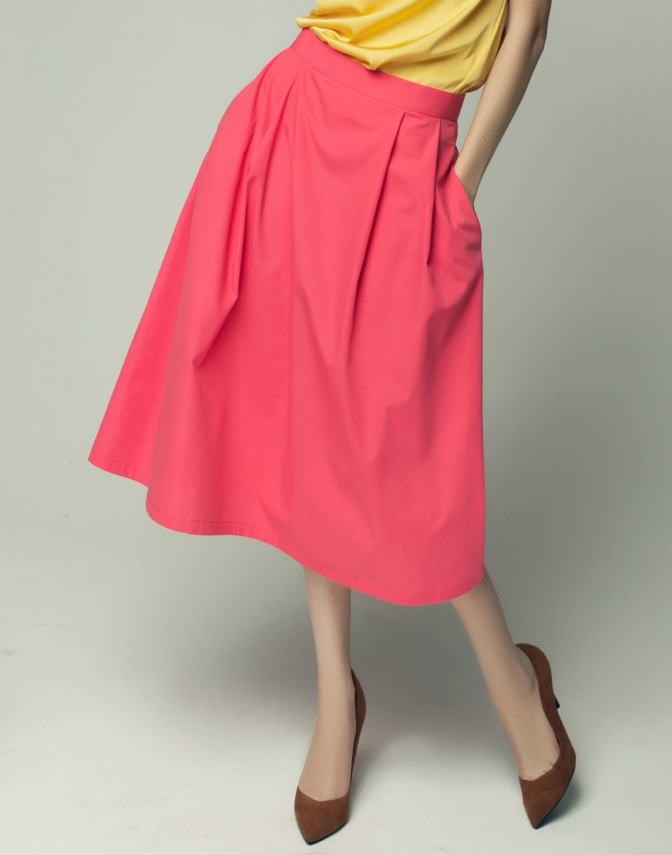 розовая широкая юбка с карманами