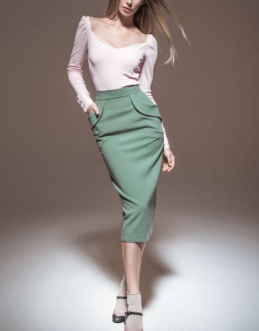юбка карандаш зеленая миди