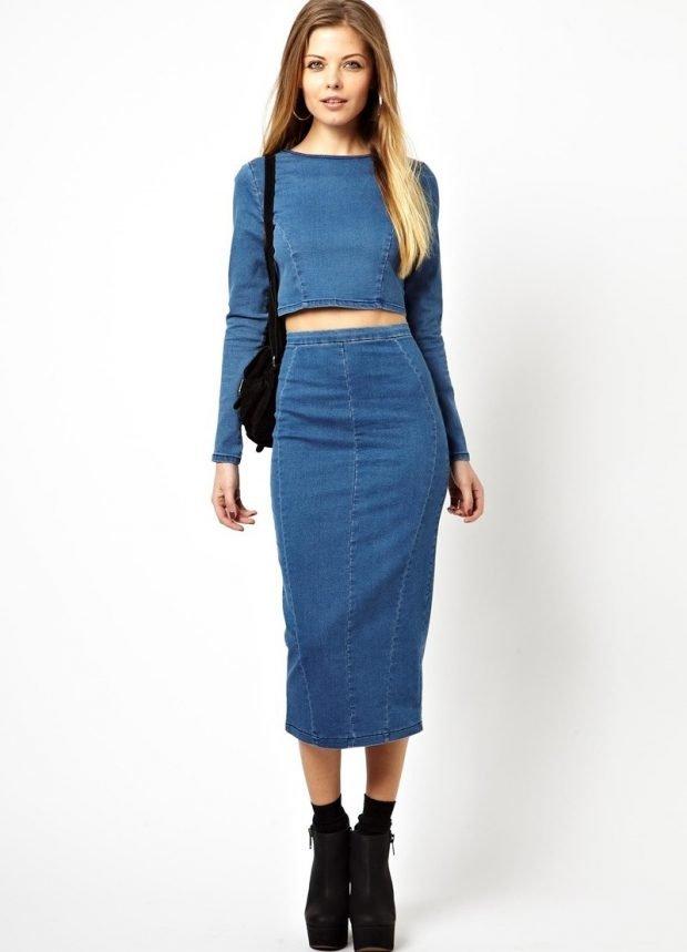 модные юбки весна-лето 2019: джинсовая карандаш миди синяя