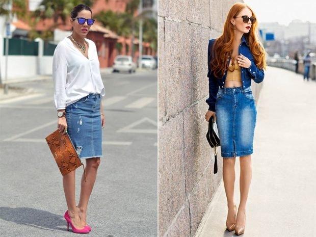 модные юбки весна-лето 2019: джинсовая голубая по колено карандаш потертая