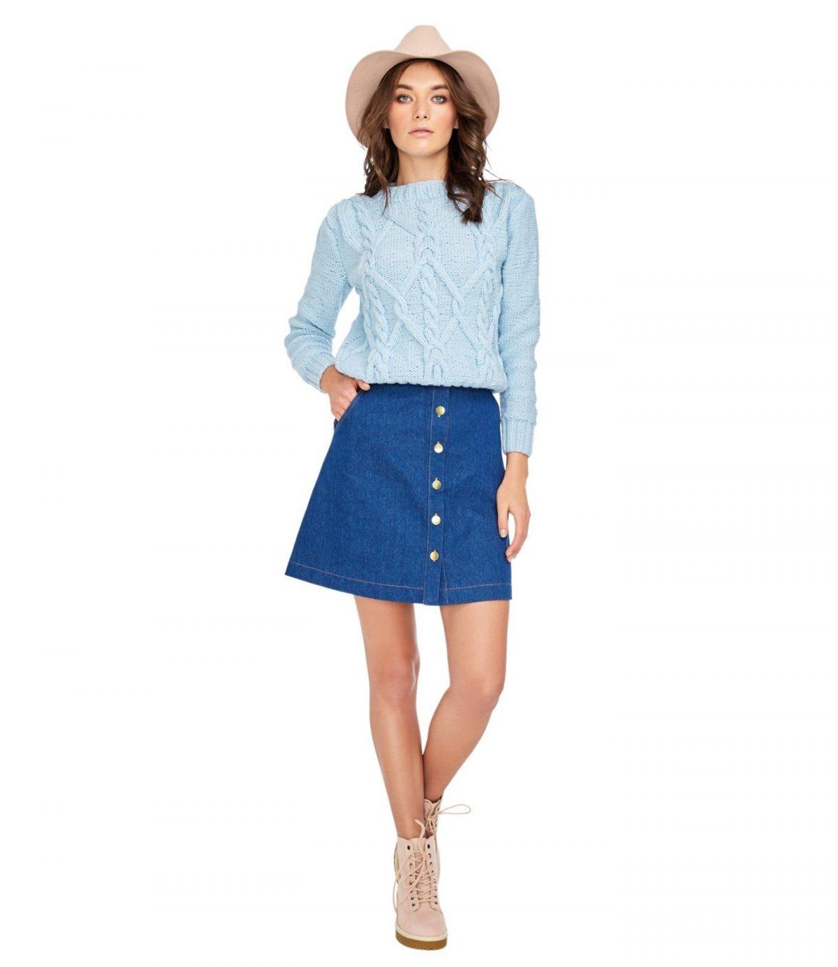 юбка-трапеция джинсовая на пуговках