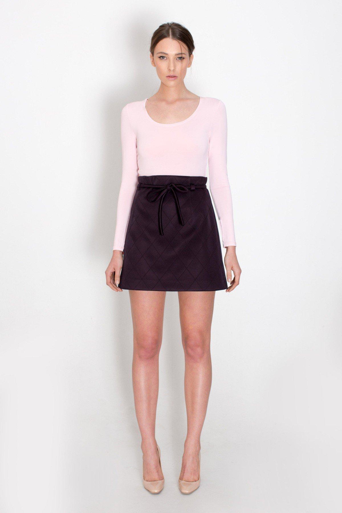 юбка-трапеция темно-бордовая со шнуровкой