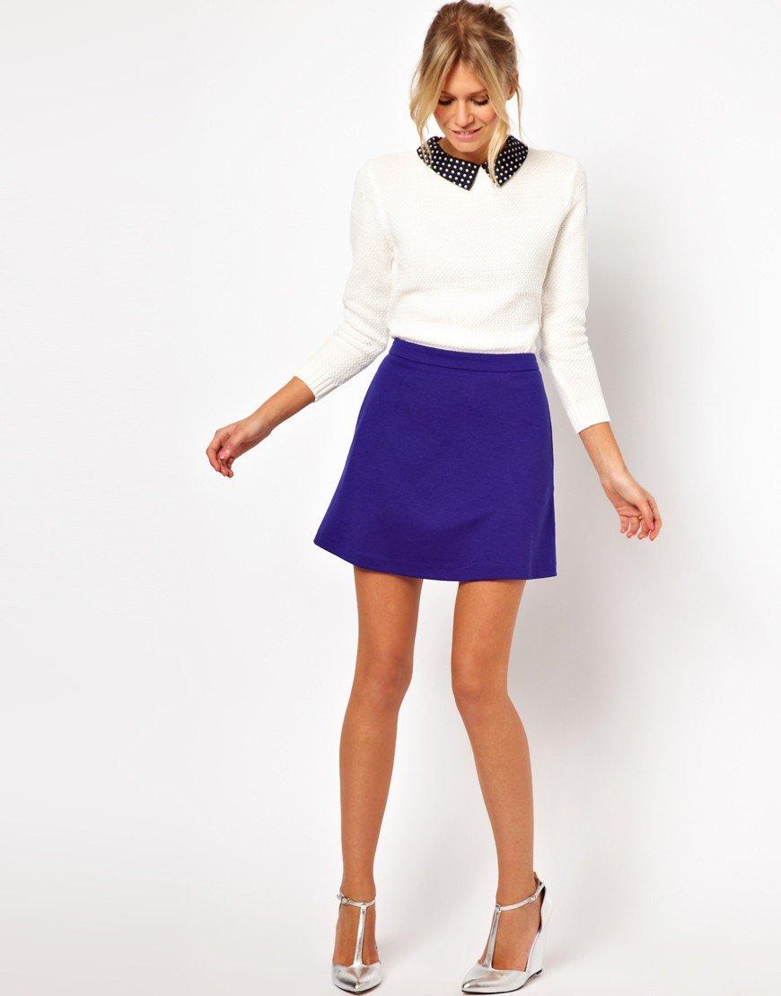 юбка-трапеция синяя