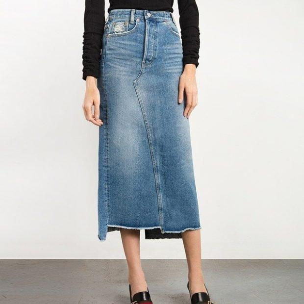 модные юбки весна-лето 2019: джинсовая миди сшитая кусками