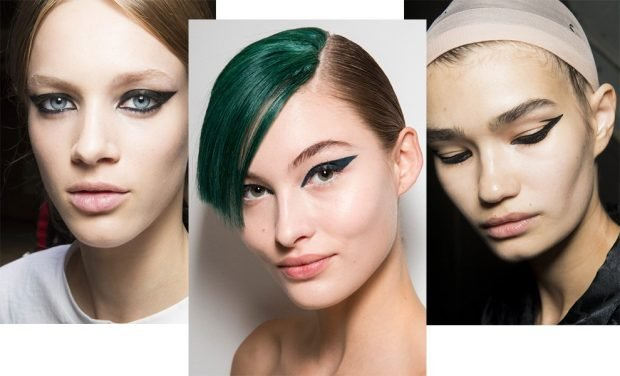 Модный макияж весна лето 2020: толстые стрелки черным
