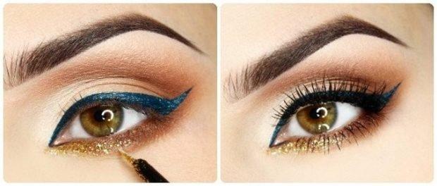 макияж на весну лето: стрелки верхнее веко синее нижнее желтое