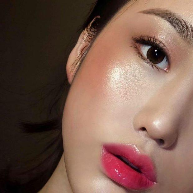 макияж хайлайтер под глаза золотым с мерцанием