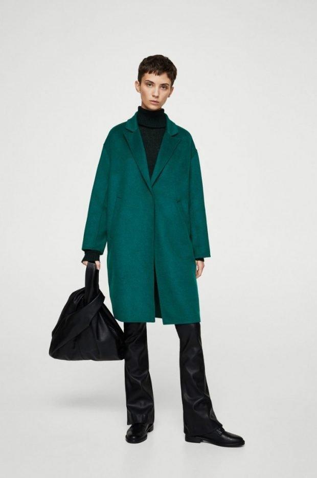 зеленое пальто оверсайз