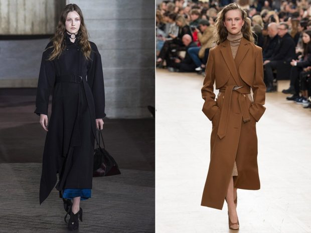пальто макси черное коричневое