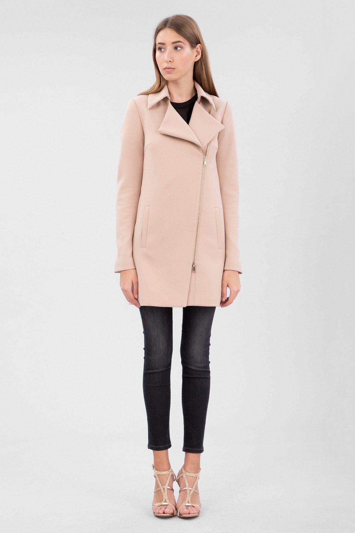 персиковое пальто средняя длина