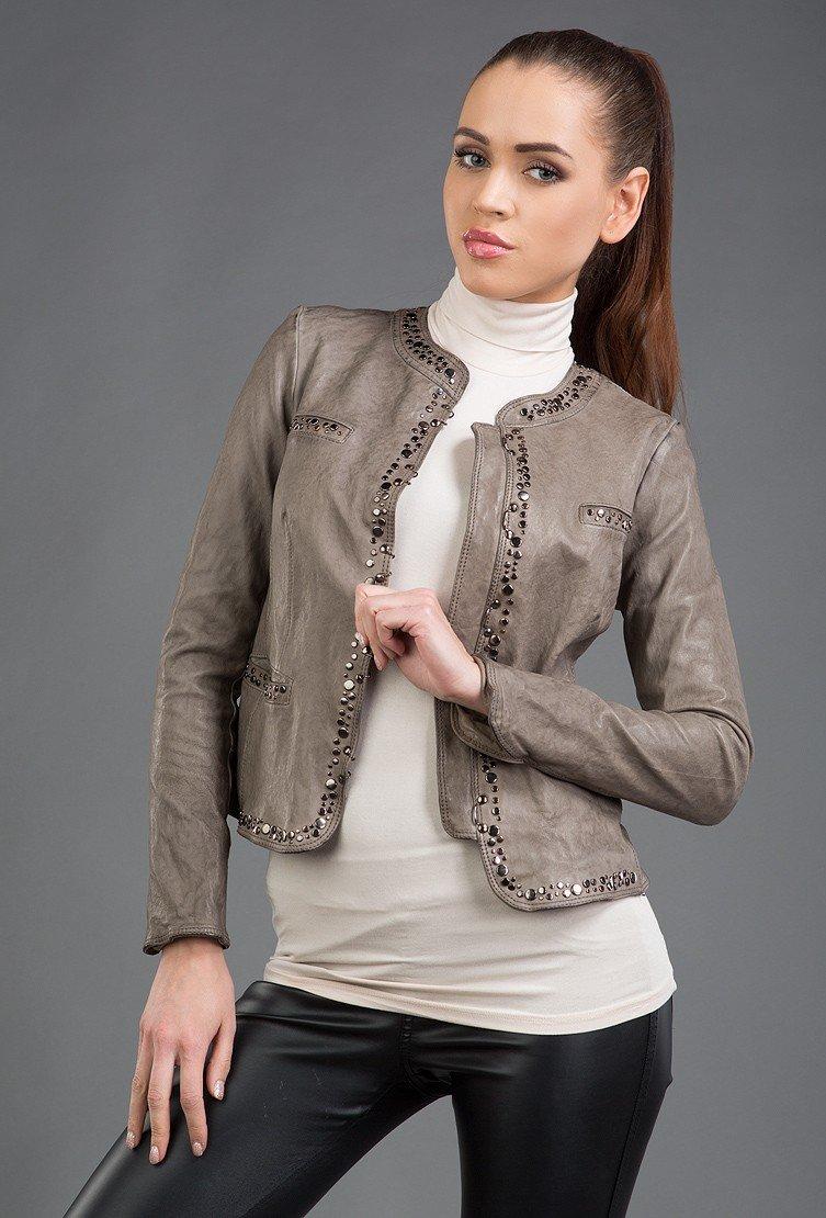 кожаная куртка серая с пайетками