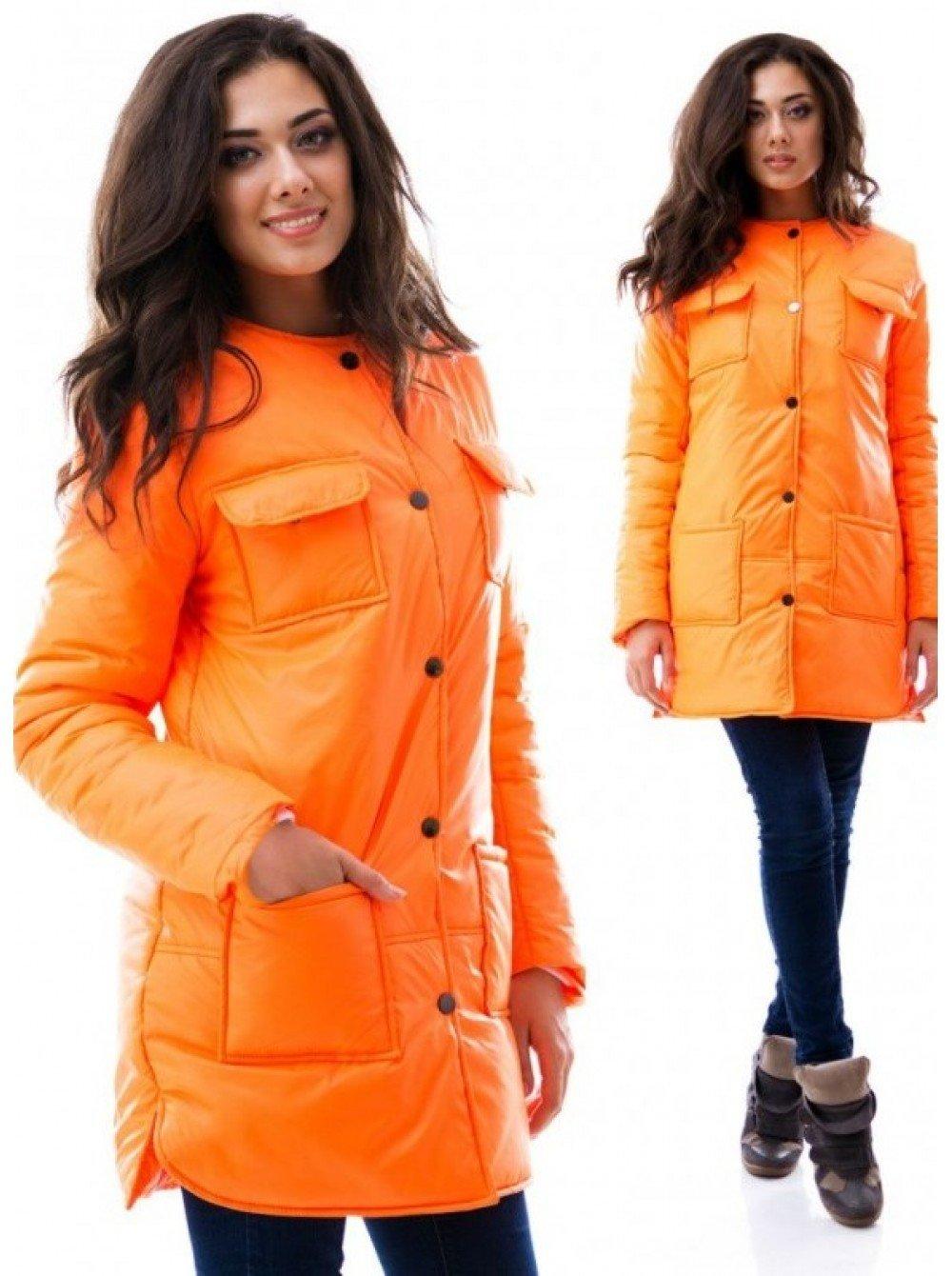 демисезонная куртка оранжевая средняя длина