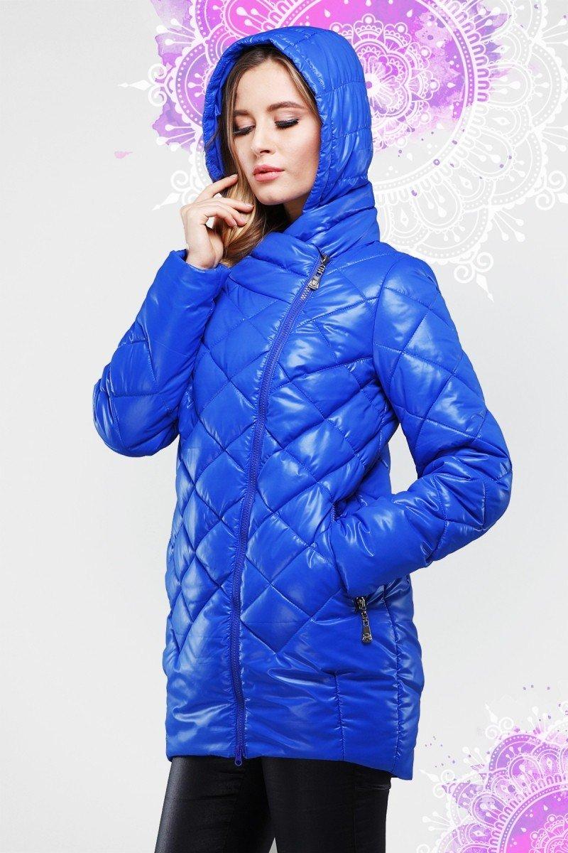демисезонная куртка синяя стеганая