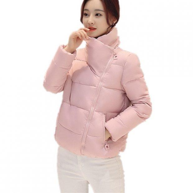 короткая куртка нежно-розовая ворот стойка
